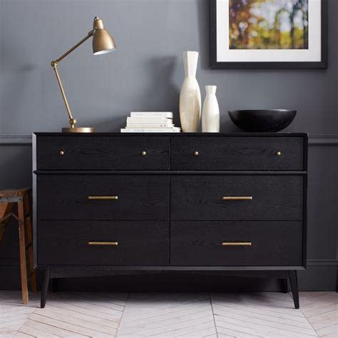 modern 3 drawer dresser west elm mid century 6 drawer dresser black west elm