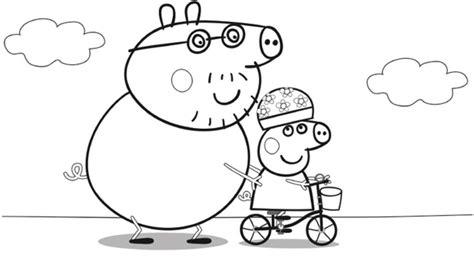 nick jr coloring pages peppa pig peppa pig daddy pig bike riding with peppa colouring
