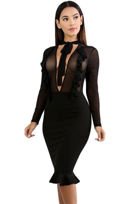 Dress Bodycon Sheer Dada Maronbiru wholesale black sheer mesh insert ruffle trim bodycon dress