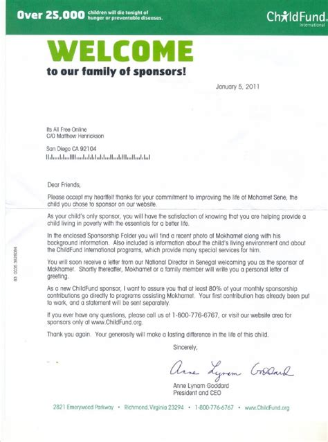 Fundraising Letter From Child Sponsor A Child Childfund