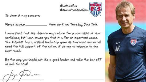 thank you letter team player 2014 fifa world cup jurgen klinsmann wants bosses to