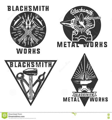 london pattern metal works blacksmith and forging logo or emblem vintage cartoon