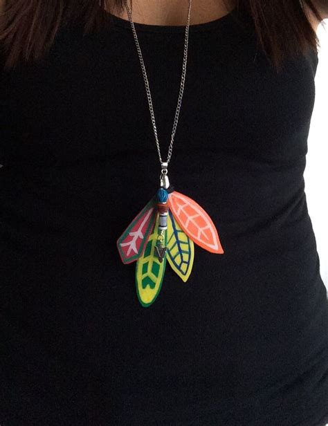 chicago blackhawks inspired feather pendant necklace