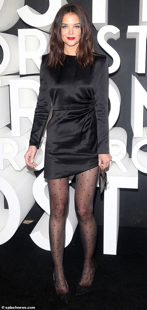 katie holmes sexy   black dress nylons  high