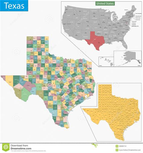texas county seat map texas map stock vector image 45935114