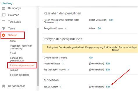 adsense di blog cara mengatasi peringatan ads txt google adsense di
