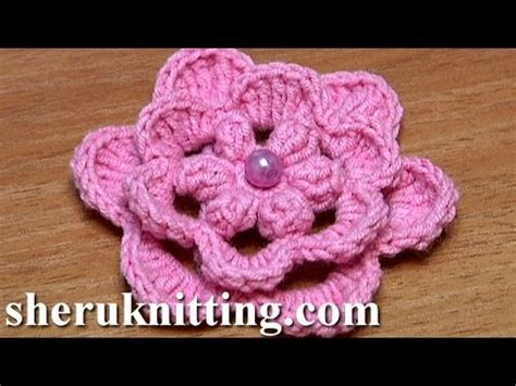 crochet layered flower pattern youtube crochet layered flower how to popcorn stitches center