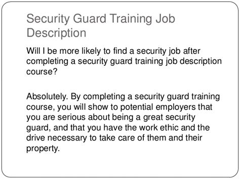 Security Guard Duties by Security Guard Description