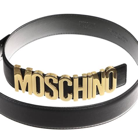 lyst moschino belt lettering calf leather in black