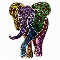 Elephant Floral Batik Art Design By Bluedarkat  GraphicRiver