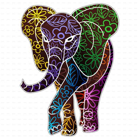 design of art and craft elephant floral batik art design by bluedarkat graphicriver