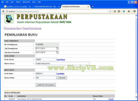 contoh program perpustakaan berbasis web skrip vb menjual software program source code