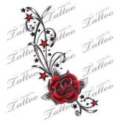 marketplace tattoo red rose stars amp swirls tattoo 4935