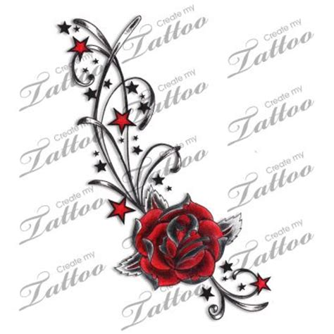 marketplace tattoo red rose stars amp swirls tattoo 4935