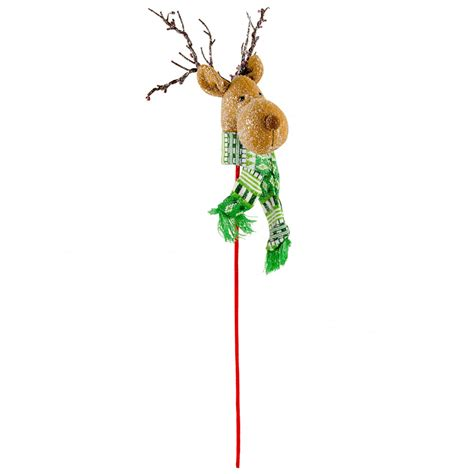 plush reindeer head pick green 3616533 craftoutlet com