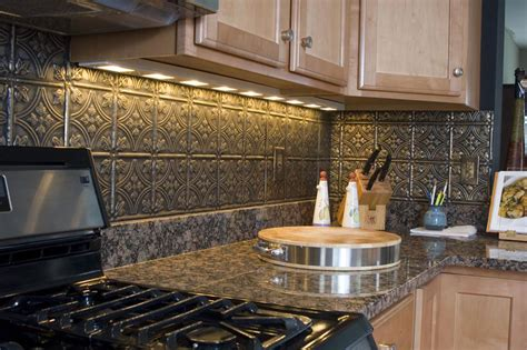 faux tin kitchen backsplash tin ceiling tiles backsplash ideas black granite tin