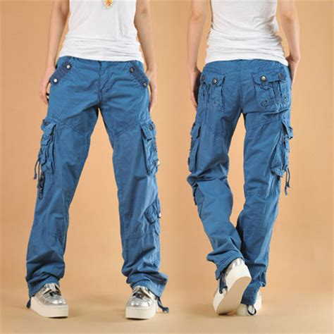 Celana Hip Hop Merah pakaian wanita biru celana tari hip hop kasual skateboard longgar celana kargo luar wanita
