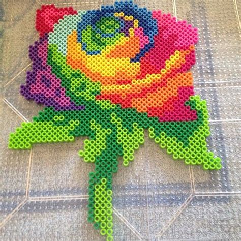 a bead of roses perler bead colorful cross stiche
