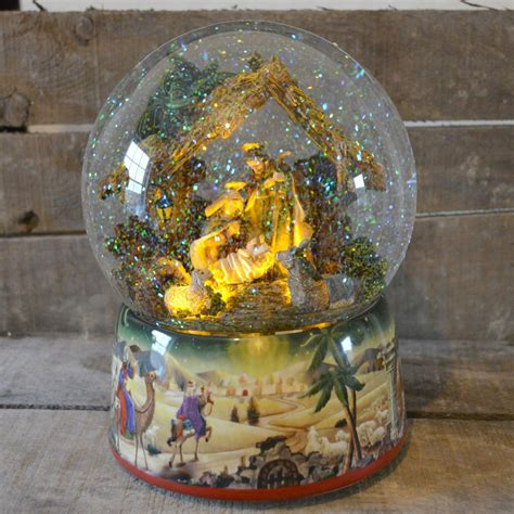 large nativity scene christmas musical snow globe no