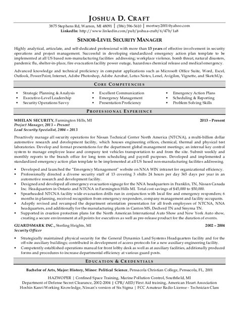 Professional Resume For A Senior Level Security Manager Senior Level Resume Template