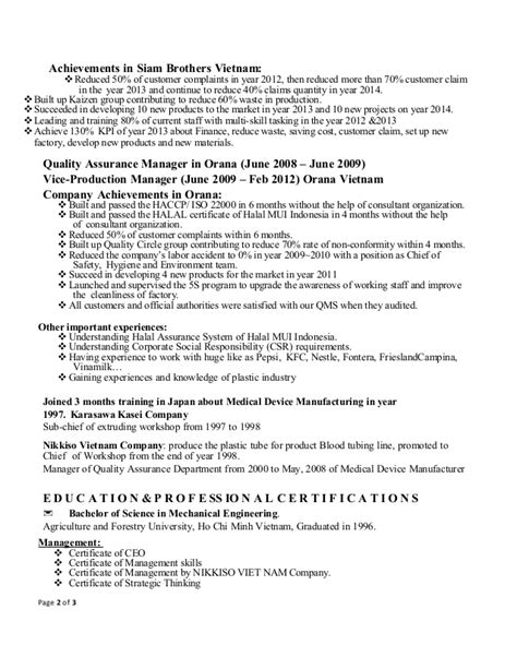 Production Manager Resume by Hai Vu Resume Production Manager 12 2014