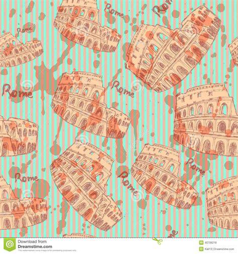 vintage pattern sketch sketch coliseum vector vintage seamless pattern stock