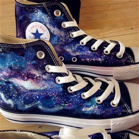 harajuku gradient color shoes zipper shoes powder fluorescent blue gradient galaxy high converse