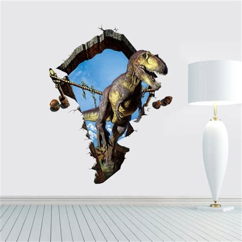 3d home decor dinosaur removable wall stickers size 60cm