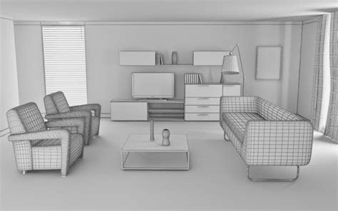 3d room 3d model of living room interiors