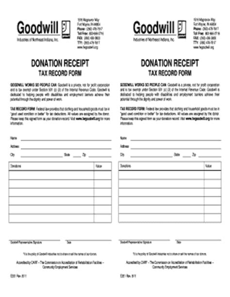 goodwill charitable donation receipt template goodwill donation receipt fill printable