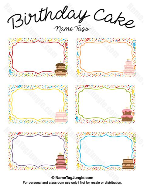 free printable birthday place cards template printable birthday cake name tags