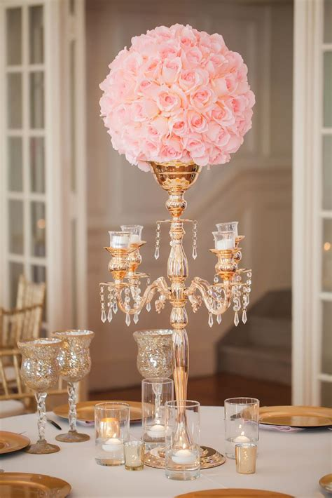 Gold Candelabra Pink Rose Wedding Reception Centerpiece Wedding Roses Centerpieces