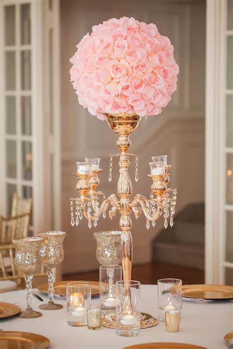 Gold Candelabra Pink Rose Wedding Reception Centerpiece Gold Centerpiece Ideas