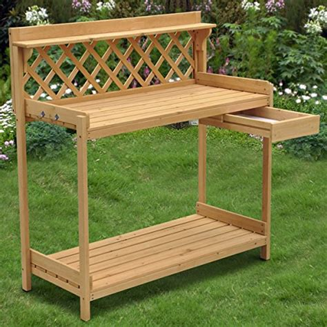 plant potting bench yaheetech wood potting bench outdoor garden patio planting
