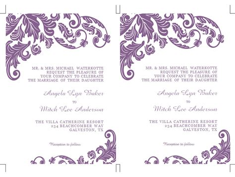 Word Invitation Template by Formatted 2 Page Wedding Invitation Templates Microsoft Word