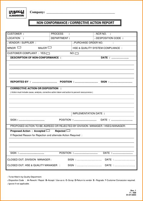 sle of corrective report 28 images assignment template