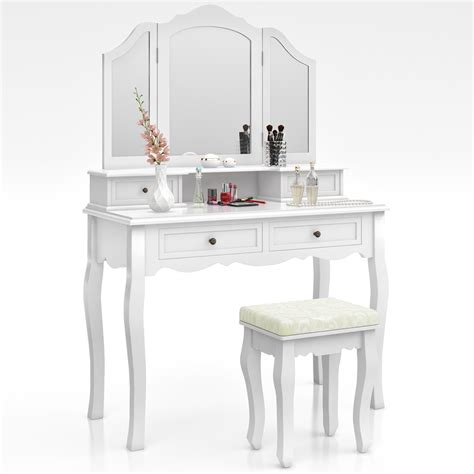 Mirrored Makeup Vanity Table Dressing Table Stool Makeup Table Storage Mirror Bedroom Vanity Table Ambois Ebay
