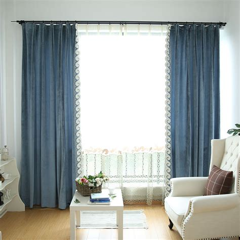 blue solid extra wide modern bedroom curtains