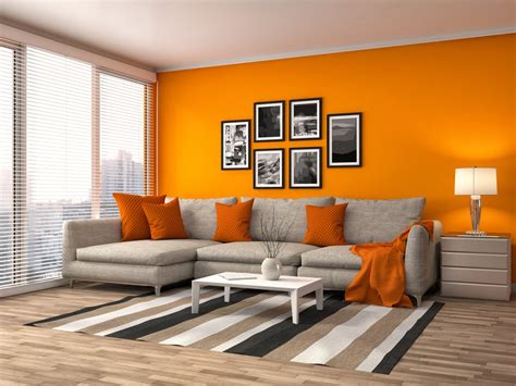 wohnzimmer orange orange walls with brown furniture home designs idea