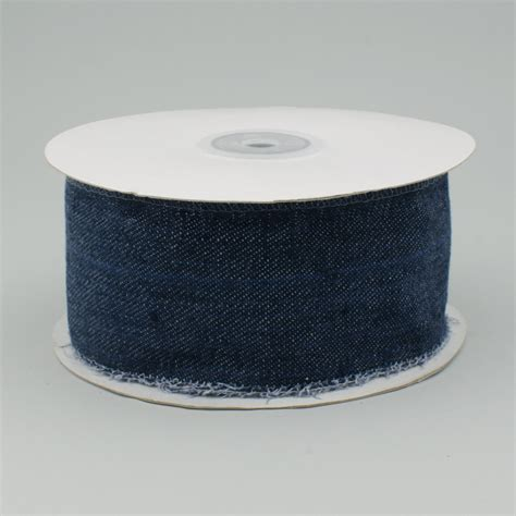 Denim Ribbon 2 5 quot navy blue denim ribbon with fringed edge wired 10