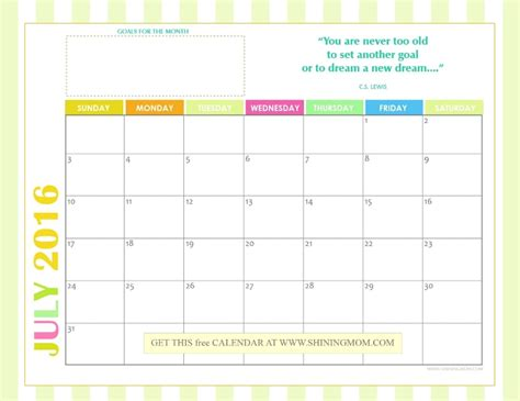 free printable monthly calendar july 2016 cute july 2016 calendar calendar template 2018