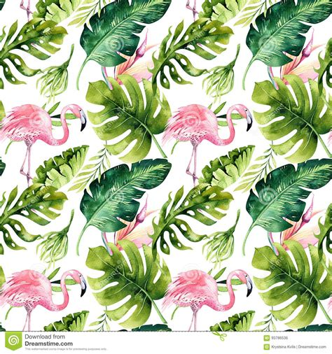 Palm Tree Wall Decor Tropical Isolated Seamless Pattern With Flamingo
