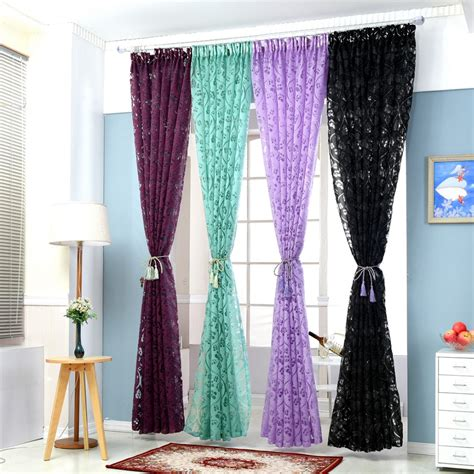 Purple Kitchen Curtains Floral Colorful Curtains For Window Curtain Panel Semi Blackout Kitchen Curtains Purple Custom
