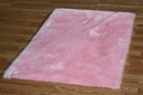 pink fur rug 5 x 8 baby pink faux fur rug non slip washable great