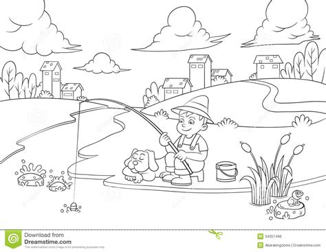 lake fish coloring pages fishing boy for coloring book stock vector illustration