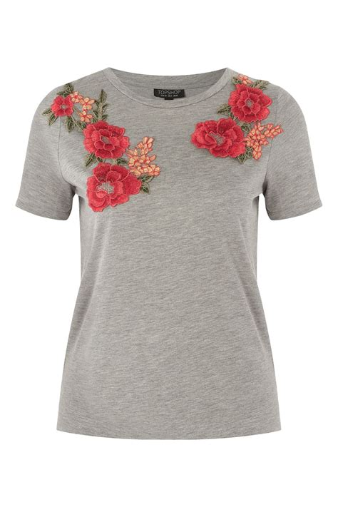 floral applique floral applique t shirt topshop usa