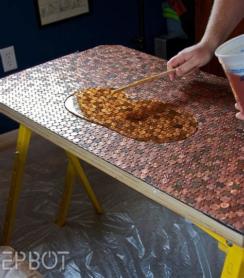 penny bar top diy copper creativity diy penny desk that steals the show