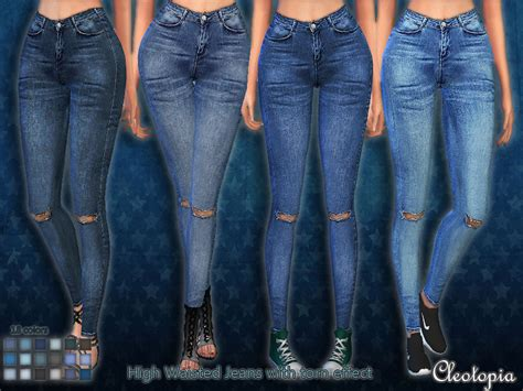 sims 4 jeans cleotopia s set45 high waisted jeans with torn effect