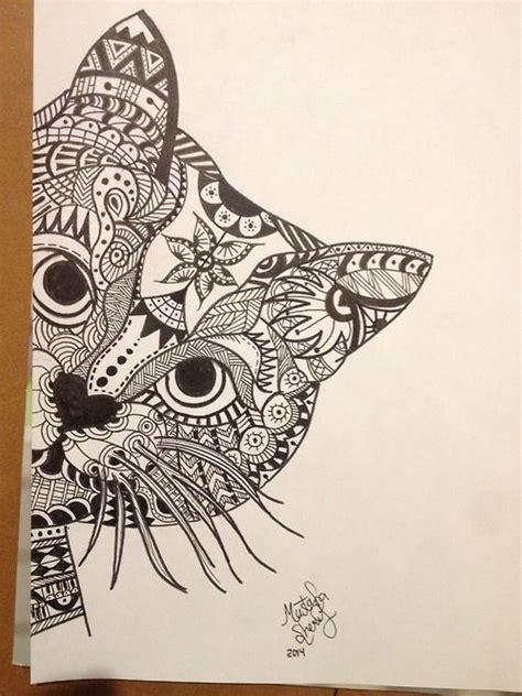 pattern cat drawing zentangle cat nice things pinterest
