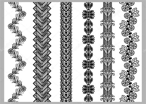 Lace Bordir Tempel indian henna border decoration elements patterns in black